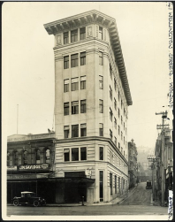 c.1920s - Druids Chambers, on the corner of Woodward Street and Lambton Quay, Wellington. Evening post (Newspaper. 1865-2002) :Photographic negatives and prints of the Evening Post newspaper. Ref: PAColl-8557-40. Alexander Turnbull Library, Wellington, New Zealand. http://natlib.govt.nz/records/22766020