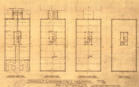 Original plans of the ground floor, second floor and roof, 1922. (WCC Archives reference 00055:7:A659)