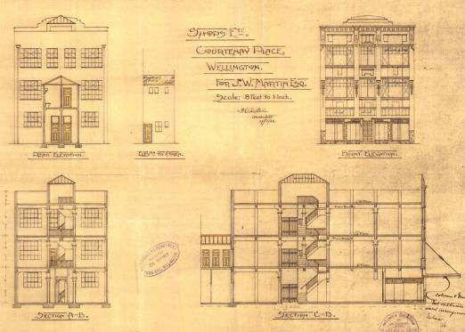 Original plans of front and rear elevations and sections, 1922. (WCC Archives reference 00055:7:A659)