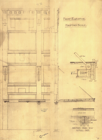Original plans of front elevation, 1922. (WCC Archives reference 00055:7:A659)