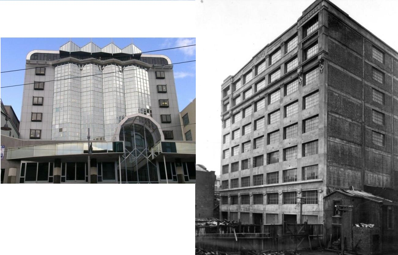 Courtenay Place elevation (Image: Charles Collins, 2015) and  [Colonial Motor Company Building, Wellington]. Lithgow, Robert William, fl 1980s :Photographs of buildings constructed by the Hansford & Mills Construction Co., and of the Kairuru marble quarry. Ref: PA1-q-144-057. Alexander Turnbull Library, Wellington, New Zealand. http://natlib.govt.nz/records/22452064