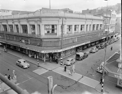 "This photograph shows the Burlington Arcade at the time when it was purchased by Woolworths in 1951. The 'timeframes' title notes that this is a …""New building for Woolworths, just merged with Selfridges, in Cuba Street. Also visible is Carter's wool shop and the London Bag Shop. Photograph taken circa 9 March 1951 by an Evening Post photographer.""   New Woolworths shop, Cuba Street, Wellington. Negatives of the Evening Post newspaper. Ref: 114/267/02-G. Alexander Turnbull Library, Wellington, New Zealand. http://natlib.govt.nz/records/23008243"