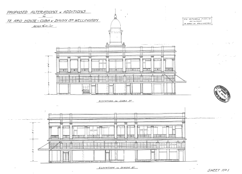The 1928 elevations for the conversion of Te Aro House to Burlington Arcade. This image shows that the tower was to be retained in the remodelled Te Aro House, but it appears that the tower was removed during the works. (Image: WCC Archives 00056_54_B5222)