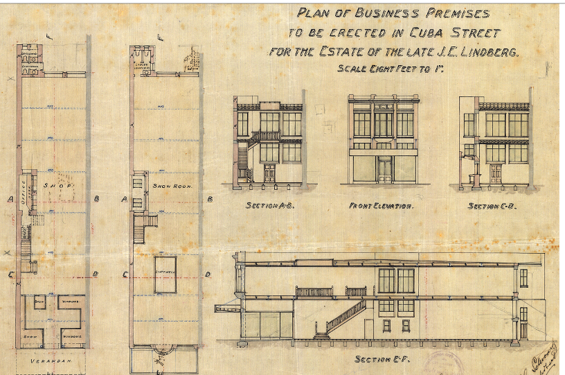 GG Schwartz's 1920 plans for the new building at 104 Cuba Street (WC Archives, 00053:202:11137)