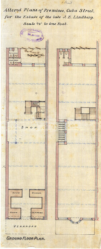 GG Schwartz's alterations to his 1920 plans for the new building at 104 Cuba Street (WC Archives, 00053:202:11137)